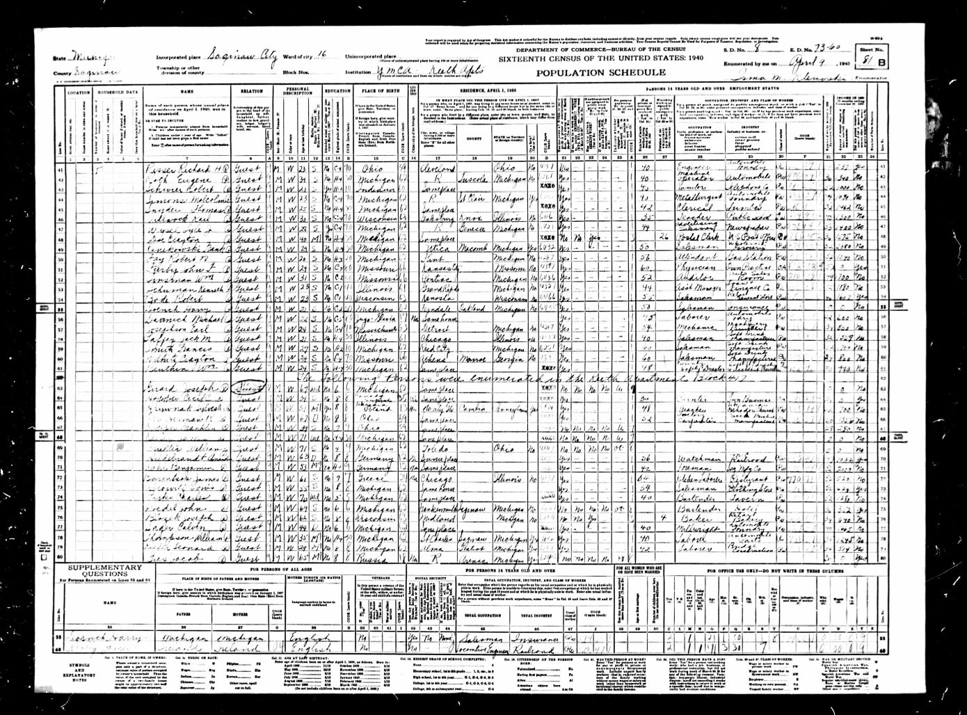 1940 United States Federal Census - Jacob Gies